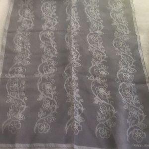 Grey silk chiffon floral long scarf